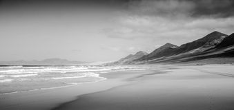 Desolate beach (b&w) Royalty Free Stock Image