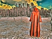 Desolate city. Surreal painting. Figure in cloak stands before desolate city in arid land. This image created in entirety by me from my own images and is Stock Photography