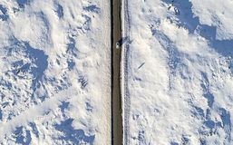 Aerial car on icy road Royalty Free Stock Photography