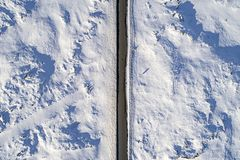 Aerial icy road Royalty Free Stock Photos