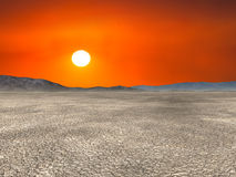 Desolate Desert Hot Sun Landscape Stock Photography