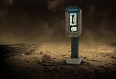 Desolate Desert Pay Phone Illustration. Payphone or pay phone in desolate desert. Do people need to cry for help and use a telephone Stock Photo