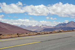 Desolate road in the desert. A random part of the road in Bolivia Stock Photos