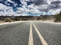 Desolate road. A desolate road leading into one of the most climbed rock climbing parks in the usa Stock Photos