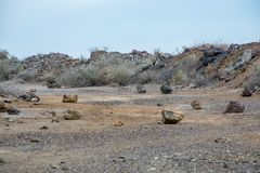 Desolate rock road. And drought stock images