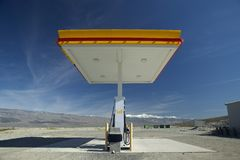 A desolate Shell Gas Station with a sign reading Self on it is located in Death Valley National Park near entrance, CA Royalty Free Stock Photo