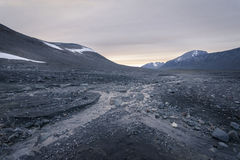 Desolate stone field giving feeling of emptiness in Sarek. Sweden Royalty Free Stock Image