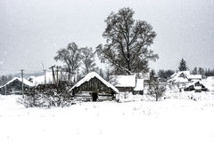 desolate village in winter Stock Images