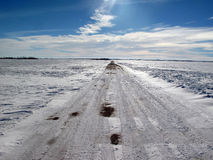 Desolate winter road Royalty Free Stock Image