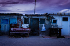 Desolated Fishermen Shelters. Fishermen shelter establishment in the port of Cinarcik town - which is the district of Yalova city of Turkey. Local residents Stock Photo
