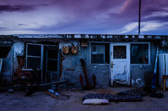 Desolated Fishermen Shelters. Fishermen shelter establishment in the port of Cinarcik town - which is the district of Yalova city of Turkey. Local residents Stock Photos