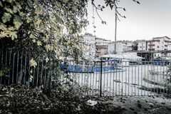 Desolated Fun Fair In Cinarcik Town - Turkey Royalty Free Stock Photography