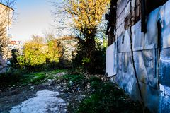 Desolated Old Building With Metal Plates Stock Photography