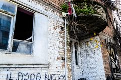 Desolated Old Two Story Turkish House Royalty Free Stock Images
