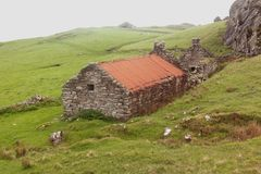 A desolated and worn crofter`s house. On the coastline of the North Sea in die Highlands of Scotland on a very misty morning royalty free stock image