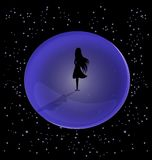 Desolation. In the space is a lone female figure, encased in a ball Stock Image