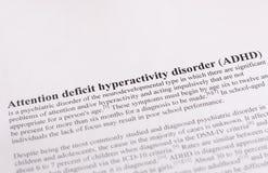 Desordem da hiperatividade do deficit de atenção ou ADHD. fundo médico ou dos cuidados médicos Imagem de Stock Royalty Free