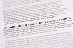 Desordem da hiperatividade do deficit de atenção ou ADHD. fundo médico ou dos cuidados médicos Foto de Stock Royalty Free