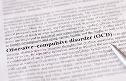 Desordem obsessionante ou OCD. educação ou conceito dos cuidados médicos/foco seletivo. fotos de stock royalty free