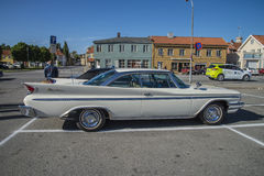 1960 DeSoto Adventurer 2 door hardtop. Every Wednesday during the months of May to August there is a veteran car meeting with American cars at the fish market in Royalty Free Stock Photo