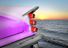 Desoto bay. Photo of a vintage desoto american car set against a beautiful sunset on the kent coast of whitstable Royalty Free Stock Images
