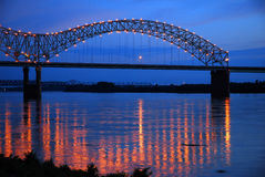 DeSoto Bridge on the Mississippi Riover. The Lights of the DeSoto Bridge Reflecting in the Mississippi River Royalty Free Stock Photo
