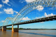 The DeSoto Bridge over the Mississippi. The DeSoto Bridge Spans the Mississippi River, Connecting Arkansas with Memphis Tennessee Stock Images
