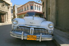 DeSoto car in Cuba. The front grille and headlamps of a DeSoto automobile in Havana, Cuba Stock Images
