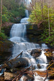 Desoto Falls, Georgia. Water cascades gracefully in regular steps down Desoto Falls on Frogtown Creek in the Georgia Mtns Stock Photography