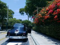DeSoto 1949 limousine parked in San Isidro, Lima. Lima, Peru. December 19, 2016. Rear view of a mint condition black DeSoto limousine parked in a street of San Stock Images