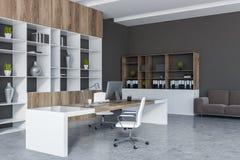 Despacho de dirección gris con el sofá stock de ilustración