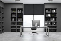 Despacho de dirección gris interior con los estantes para libros ilustración del vector