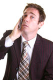 Despair. Stressed executive holding handerkerchief to his face Royalty Free Stock Photos