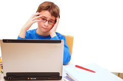 In despair about cyberhomework Royalty Free Stock Image