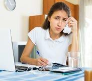 Despair girl study at home Royalty Free Stock Image