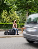 Despair of the hitchhiker Royalty Free Stock Photo