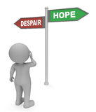 Despair Hope Sign Shows Hoping Wants And Misery 3d Rendering. Despair Hope Sign Representing Melancholy Hoping And Pessimism 3d Rendering Stock Image