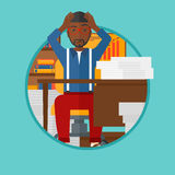 Despair man sitting in office vector illustration. Stock Images