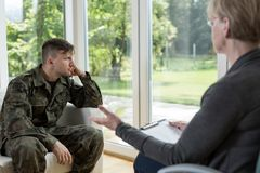 Despair military man Royalty Free Stock Image