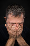 Despair. Man with face closed by hand Royalty Free Stock Image