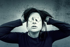 Despair in women. Despair woman with blindfold, fear Stock Photography
