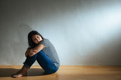 Despair young girl looking at empty area Stock Photos