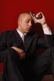 Despairing man with gun. Stock Photo
