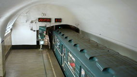 Despatching subway train 81-717 from metro station Novokuznetskaya. Top side view. stock video