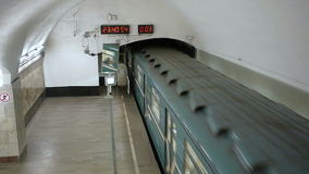 Despatching subway train 81-717 from metro station Novokuznetskaya. Top view from center tube. stock footage