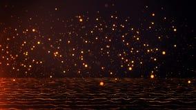 Despedida de oro descendente de las partículas en fondo anaranjado oscuro stock de ilustración