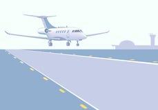 Despegue del aterrizaje del jet del negocio Fotos de archivo