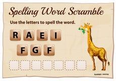 Despegue en tiempo mínimo de la palabra del deletreo para la jirafa de la palabra Fotografía de archivo