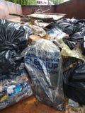 Despejo ilegal, lixo em um contentor recolhido durante uma limpeza do rio Imagem de Stock