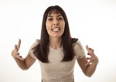 Desperacka młoda atrakcyjna kobieta patrzeje wściekły z gniewną twarzą Ludzcy wyrażenia i emocje obrazy royalty free